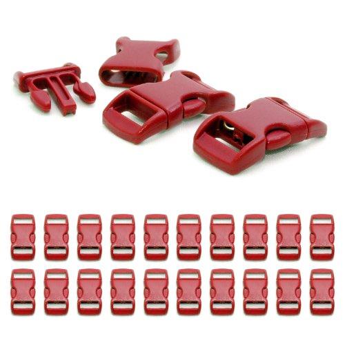 """Fermoir à clip en plastique, idéal pour les paracordes (bracelet, collier pour chien, etc), boucle, attache à clipser, grandeur: 3/8"""", 29mm x 15mm, couleur: rouge, de la marque Ganzoo - lot de 20 fermoirs"""