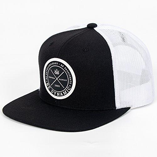 Dynamic Discs Foundation Leather Patch Snapback Mesh Disc Golf Hat - Black w/White