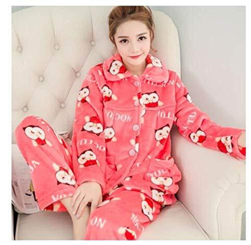 LUOY Damen Pyjama Set,Damen Warm Cosy Nachtwäsche Set Buttons Rote Eule Print Flanell Langarm Nachtwäsche Weiche Nachthemden Für Freizeitkleidung, XXL