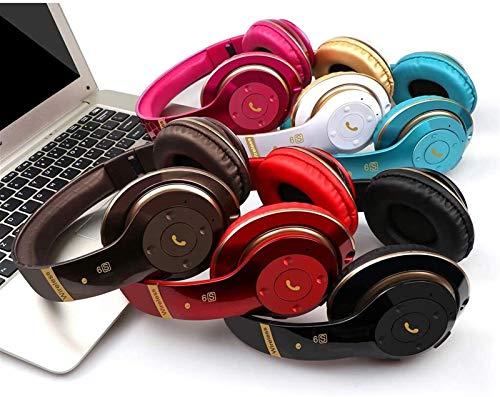 KEEBON Bluetooth Auriculares inalámbricos, sobre la Oreja Auriculares con micrófono, Plegable y Ligero, el Modo de MP3 Soporte de Tarjeta TF y Radio FM for teléfonos móviles de TV portátil - Rojo