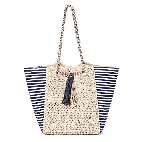 JOSEKO Bolso tote tejido de paja, bolso de playa de verano con borlas de cuero, bolso bandolera para mujer, apto para viajes y actividades diarias (Blanquecino # 4)