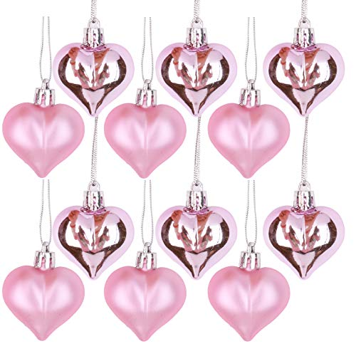 Vesil Christmas Ball Ornaments Tree Decorations, 12 pcs Pink Heart