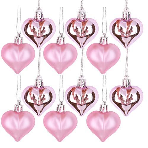 Vesil Christmas Ball Ornaments Tree Decorations, 12 pcs Pink Heart