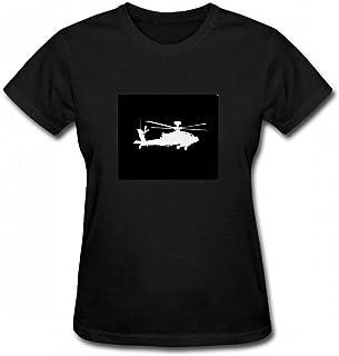 トップス 米軍:AH-64アパッチヘリコプター(Blac Women T-Shirt レディーズ Tシャツ