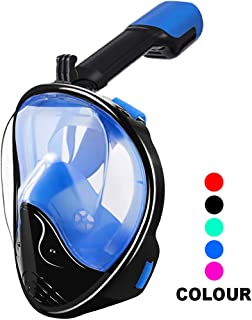 WSTOO Full Face Snorkel Mask,180 Panoramic View Snorkel Mask Full Face,Anti-Fog Anti-Leak Design Snorkel Mask with Detachable Camera Mount for Adults & Kids
