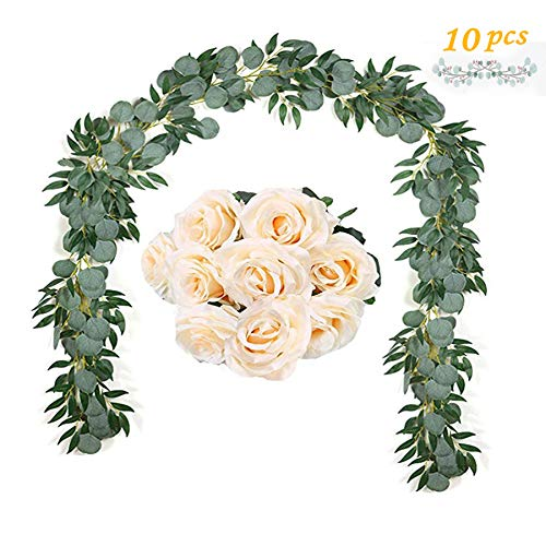 6.5FT Eucalyptus Garland, 6.5FT Weeping Willow Garland and 9 PCS Champagne Artificial Roses Flowers Ucaliptus Garland Leaves Vines Handmade Garland Greenery Wedding Backdrop Arch Wall Décor