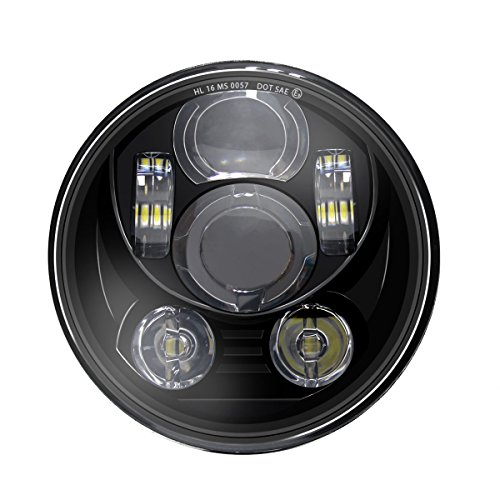 Wisamic 5-3/4 faro LED de 5,75 pulgadas Compatible con Harley Davidson Dyna Street Bob Super Wide Glide Low Rider Night Rod Train Softail Deuce Custom Sportster Iron 883-Black