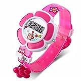 Niedliche Kinder-Armbanduhr, Cartoon-Design, Silikon, digital, Armbanduhr für Jungen und Mädchen, Violett Gr. One size, rosarot