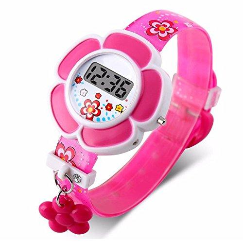 Montre pour enfant avec jolies fleurs, étanche, 3D, montre numérique en silicone avec dessins animés pour fille et garçon, le meilleur cadeau 3-10 ans pour enfants de petite taille