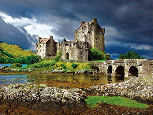 Buffalo Games - Majestic Castles - Eilean Donan - 750 Piece Jigsaw Puzzle Gray, Green,yellow, 24'L X 18'W