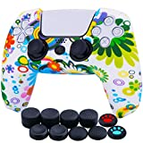 High quality Medical Grade silicone made controller cover for PS5 controller, Prevents any damage to PS5 controller from shocks, scratches; Silicone friction provides comfortable gripping, prevents slipping while game playing, no more worries for swe...
