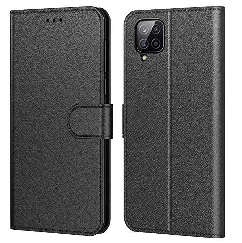 Tenphone Schutzhülle für Samsung Galaxy A12, Schutzhülle Premium aus PU-Leder, Magnetverschluss, Flip Case, kompatibel mit Samsung A12, Buch, Schwarz