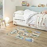 Fabriq Alfombra de juego para niños y niñas, antideslizante, para habitación infantil y de juegos, lavable a 30 °C, 95 x 133 cm, Desert Mist