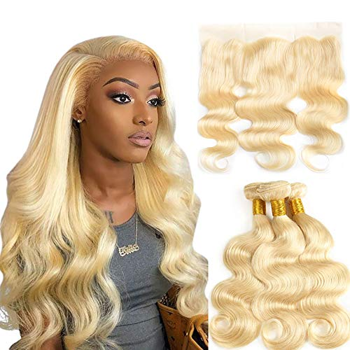 Yousigoo 613 Blonde Human Hair 3 Bundles with Frontal Brazilian Body Wave with Baby Hair Pre Plucked Lace Frontal Bleached Knots Ear to Ear Virgin Human Hair Weave with Lace Frontal (18 20 22+16)