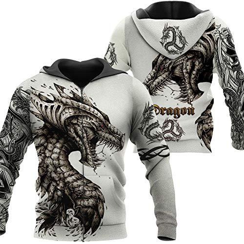 Fandao Unisex Hoodie, Keltischer Drache 3D Insgesamt Bedrucktes Sweatshirt, Tattoo Und Dungeon Dragon, Pullover, Jacke, Odin Symbol, Trainingsanzug, Laufkleidung,Zip,XXL