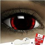 FXCONTACTS Farbige Kontaktlinsen Flashback Maxi Sclera, in rot und braun inklusive Kunstblut Kapseln und Kontaktlinsenbehälter, 1 Paar Linsen (2 Stück) weich, ohne Stärke