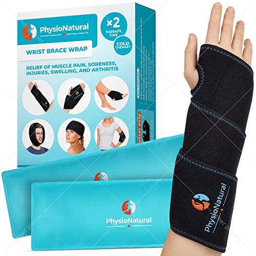 Wrist Ice Pack Wrap - Cold Therapy for Instant Pain Relief of Carpal Tunnel, Tendonitis, Injuries, Swelling, Rheumatoid Arthritis, Bruises & Sprains - Hand Support Brace with Reusable Gel Packs