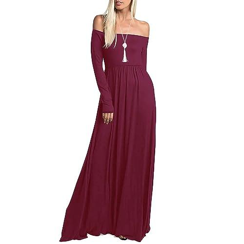 040ca76fed43 Amoretu Womens Casual Long Sleeve Off Shoulder Maxi Long Dress with Pocket