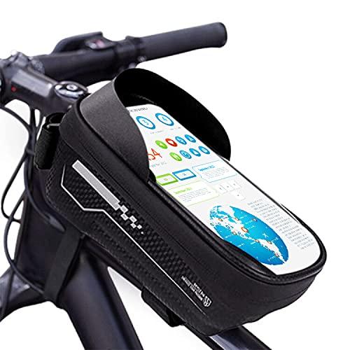 VUENICEE Bolsas de Bicicleta,Impermeable Bolsa Manillar,Bolsa de Cuadro para Bicicleta,Gran Capacidad,Pantalla Táctil de TPU,para Teléfono Inteligente por Debajo de 6,5 Pulgadas.