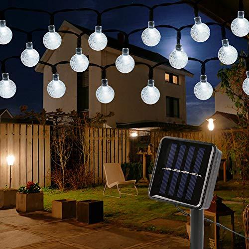 Mitening Solar Lichterkette Aussen, 12M 100 LED Lichterkette Außen Wasserdicht Kristall Kugel für Garten Bäume Schlafzimmer Kinderzimmer Hochzeiten Weihnachten Partys Weiß [Energieklasse A+++]