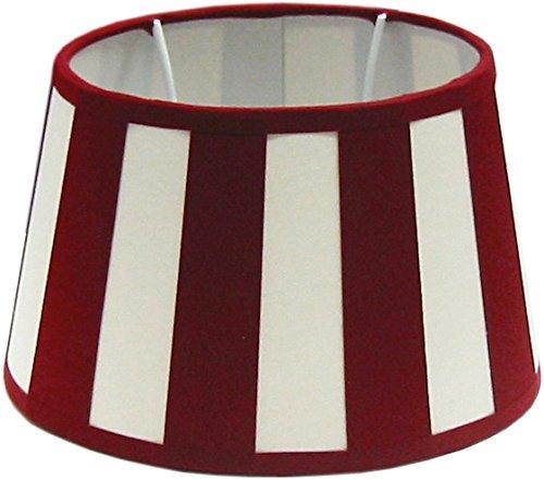 Tisch-Lampenschirm, Chintz.*oval*, Balkenstreifen rot/creme / Du=20 / Do=15 Hschräg=12cm Befestigung unten E27 (optional lieferbar Reduzierring auf E14)