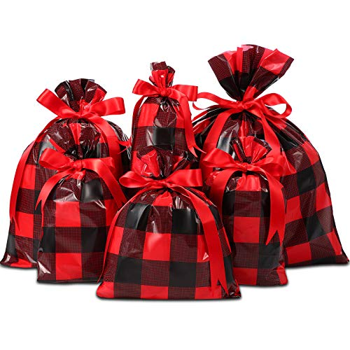 36 Pieces Different Sizes Christmas Snack Bag Buffalo Plaid Candy Packaging Bag with Ribbons Xmas Wrapper Bag Christmas Party Supplies (Red and Black Plaid)