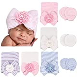 DRESHOW Neugeborene Baby Mütze Fäustlinge Krankenhaus Hut Beanie Säuglingshüte mit Schleife Baby Handschuhe