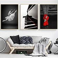 現代の黒と白のバレエダンサーキャンバス絵画ピアノ赤い靴ポスタープリント壁の写真リビングルームの装飾(50x70cm)X3フレームレス