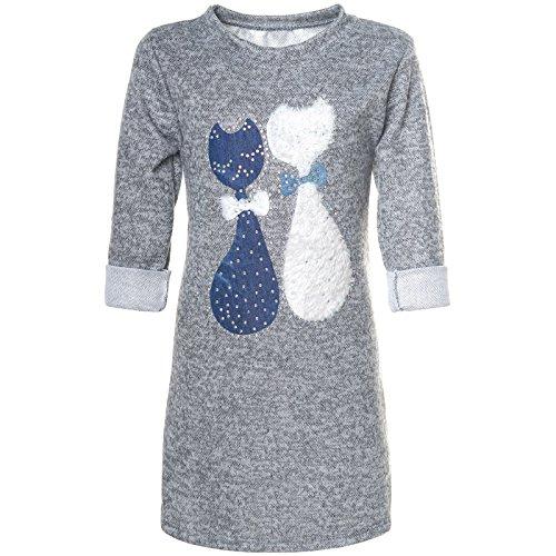 BEZLIT Mädchen Pullover-Kleid Tunika Katzen Motive Glitzer 21582 Grau Größe 116
