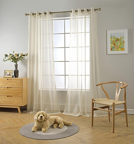 """MIUCO 2 Panels Grommet Textured Solid Sheer Curtains 84 Inches Long for Bedroom (2 x 54 Wide x 84"""" Long) Beige"""