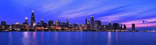 Chicago by Night Panorama Wall Mural -- Self-Adhesive Wallpaper - Multiple Sizes - by Magic Murals