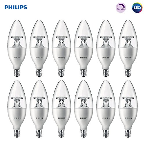 Philips LED Dimmable B11 Clear Candle Light Bulb: 300-Lumen, 2700-Kelvin, 4.5-Watt (40-Watt Equivalent), E12 Base, Soft White, 12-Pack