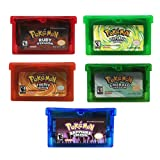 Reproduction Version 5 Pcs Pokemon Emerald Ruby Sapphire Fire Red Leaf Green Gameboy Cartridge for GBA GBM GBA SP NDS NDS (Fire Red Version)