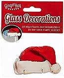 Ginger Ray Fun Glasdeko/Karte Weihnachtsmannmützen (10 Stück) rot - 2