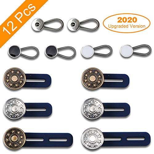 12 Pack Expander Button, 6 Pcs Pants Waist Silicone Extender Button for Men and Women, 6 Pcs Metal Collar Extenders/Neck Extender/Wonder Button for Men Dress Shirts, Simple Use, No Sewing.