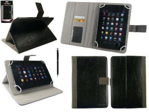 emartbuy Allview Viva H8 Life 8 Zoll Tablet Universal Range Schwarz Distressed PU Leder Multi Winkel Folio Exekutive Cover Wallet Hülle Schutzhülle mit Kartensteckplätze + Schwarz 2 in 1 Eingabestift