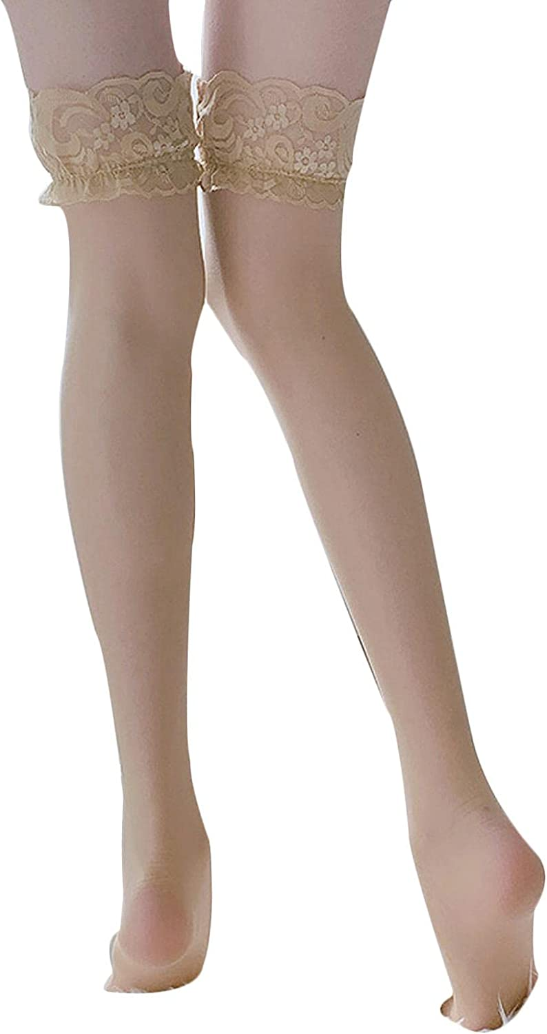 AMYMGLL Ladies Pantyhose Thigh Lace High Tube Silicone Stockings Lace Non-Slip Soft Stockings Ladies Girl Supplies Stockings,Color-Free