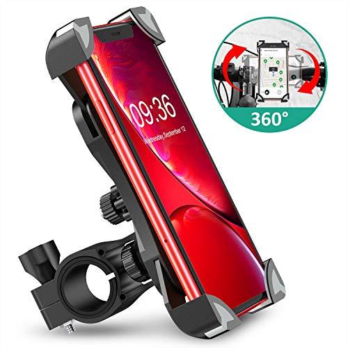 Cocoda Anti Vibrazione Porta Cellulare Bici, Supporto Bici Smartphone Rotazione a 360° Manubrio Universale Porta Cellulare Moto Compatibile con iPhone 12/12 Pro/12 Mini/11, Samsung Galaxy S20