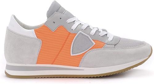 Zapatilla Philippe Model Tropez de Suede y Piel grau y Tejido Orange Fluo