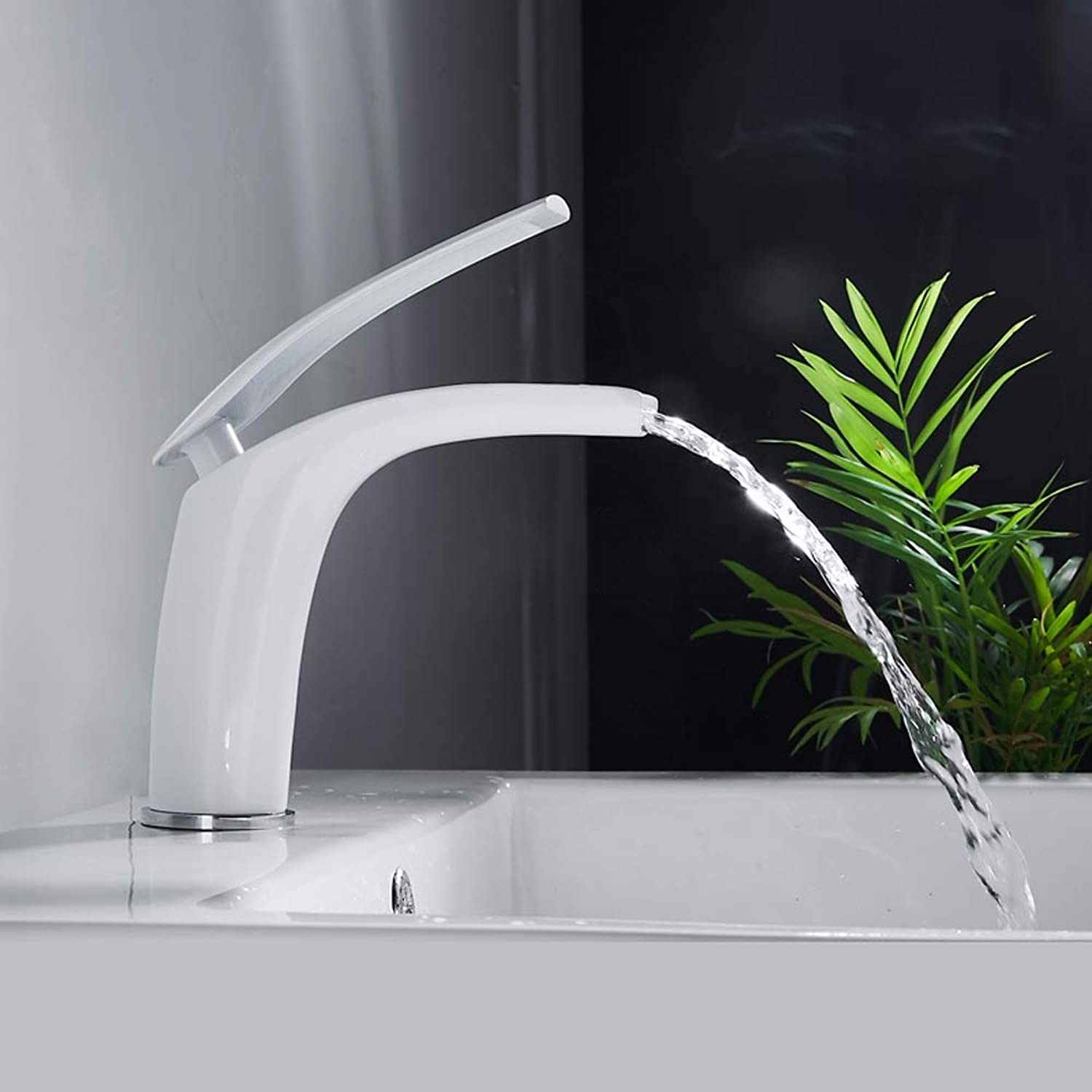 AXWT Waterfall Water-tap All Bronze Above Counter Basin Wash Your Face Basin Bathroom Cabinet Faucet Bathroom Nordic White Paint Single Hole Taps (Size   Short)