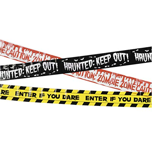 Keepax Halloween Fright Tape - Enter If You Dare - Caution Zombie Zone - Haunted Keep Out - 3 pack, Creepy Scary Decoration Tape