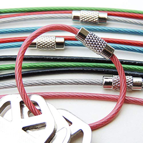 Wire Keyrings, 4-Inch, 12 Pack, Flexible Keychain with Plastic Coated Steel for Keys, Luggage Tags, Key Fobs