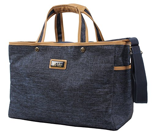 Nicole Miller New York Paige Collection - Large Capacity 17 Inch Garment Tote Bag for Women - Lightweight Travel Work Business School Laptop Shoulder Briefcase (Paige Navy)