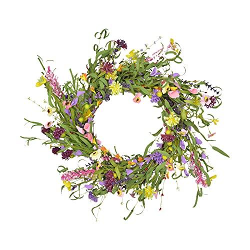 MagiDeal 50cm Guirnalda de Puerta, Guirnalda de Flores Artificiales, Guirnalda de Lavanda Margarita de Primavera de Verano decoración, Hojas Verdes Falsas,
