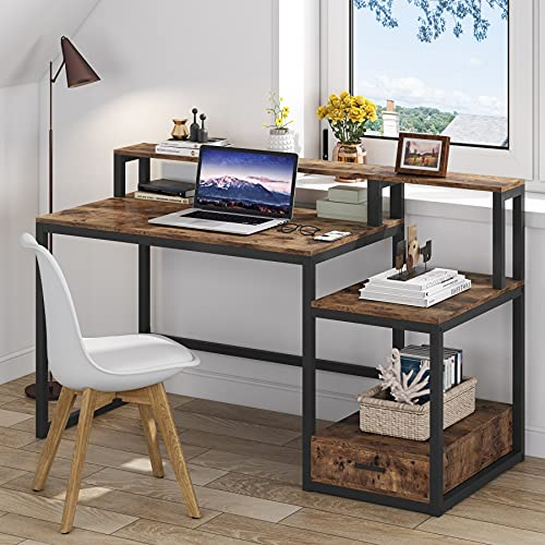 Computer Desk with Storage, Tribesigns 1 Drawer Desk with Monitor Riser and Shelves, Large Study Writing Desk PC Laptop Table, Wooden Sturdy Office Desk Workstation for Home Study