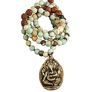 Fair Trade Amazonite Beaded Necklace with Elephant Ganesha Pendant Strand Gemstone Women Boho Yoga Fashion