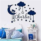 stickers muraux chambre Nuage de lune et étoiles personnalisé nom autocollant...