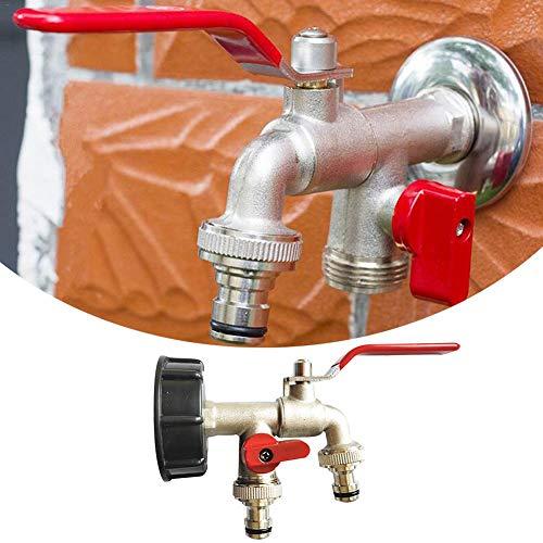 HJWXY Brass Tone Spigot - Adaptador de doble grifo tambor, cabezal aplicable para cuarto de baño, cocina, balcón, casa