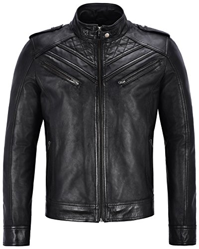 Jason Statham Herren Echtlederjacke Slim Fit Vintage Biker Schwarz Retro Style 2414 (L for Chest 42