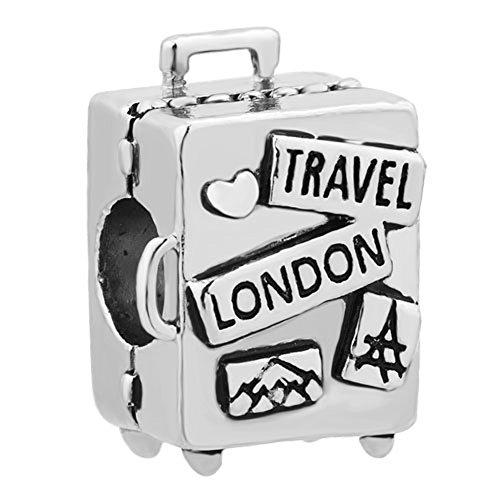 CharmSStory Travel London Suitcase Beads for Charm Bracelets